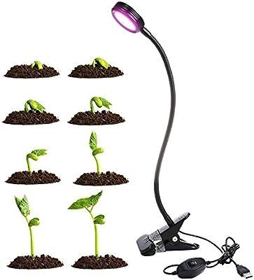 Lámpara LED plantas, anteuro 8W Planta lámpara, 2Nivel de Brillo, Grow luz crecer luces, luces de sujeción con 360grados ajustable Flexible Gooseneck para plantas hydroponik Invernadero Jardín trabajo