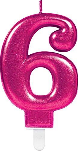 * Zahl 6 * in PINK mit Steckfuß | ca. 10cm x 6cm groß | Deko 6. Geburtstag Geburtstagskerze Kerze ()