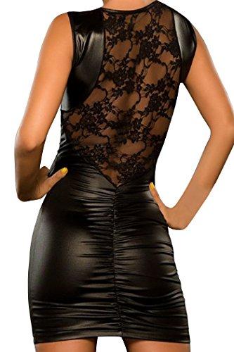 HO-Ersoka wetlook mini abito abito Club vestito da partito con pizzo nero Nero