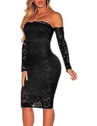 MYWY - Tubino elegante pizzo abito maniche lunghe spalle nude vestito  aderente festa 2244b18d028