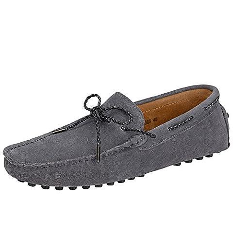 XiaoYouYu Moccassins Homme Suède Cuir Plats Slip-on Loafers Loisirs Chaussures de conduite Gris foncé, EU 44