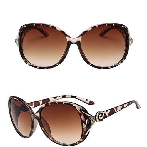 DAIYSNAFDN Vintage Lady Sunglasses Frauen Brille Retro Metall Kunststoff Sonnenbrille Lunette Uv400 Leopard