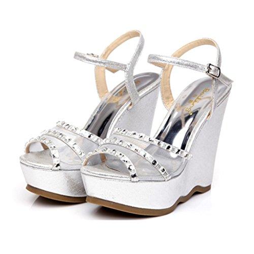 Ren Chang Jia Shi Pin Firm Sandalen Mädchen Schuhe Sandalen Sommer Steigung Sandalen Mode Mesh Strass Heels (Color : Silver, Size : 35)