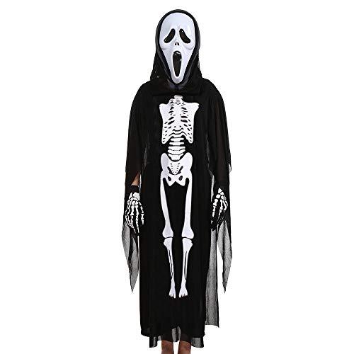GJKK Kostüme für Kinder Halloween Cosplay Kostüm Schädel Skelett Geist Umhang Mantel + Horror Geist Maske + Handschuhe Halloween Kostüm Outfits Set für Halloween Party