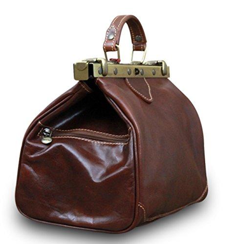 Made in Italy Arzttasche Doktortasche Hebammentasche Doc Bag Echt Nappaleder , Farbe:Braun Braun