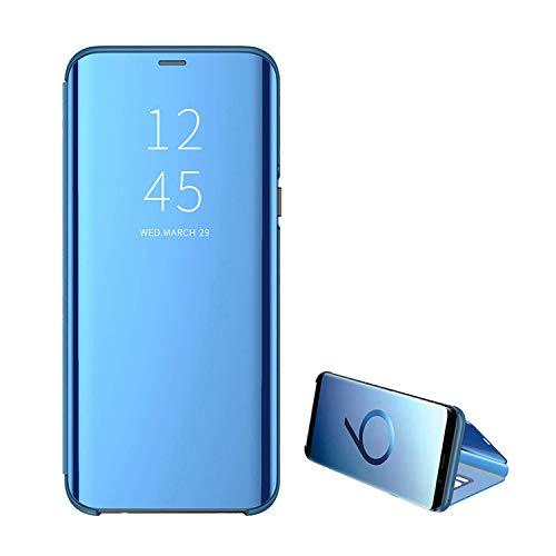 Kompatibel Samsung Galaxy S7 Handyhülle S7 Edge Hülle PU s7 Leder Flip Clear View Schutzhülle Hart Ständer-Funktion Spiegeln Standfunktion Mirror S7edge Hülle Case Cover (S7Edge, Blue)