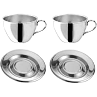 Juego de tazas de café de 12piezas de acero inoxidable–6tazas con platillos–Motta 1510