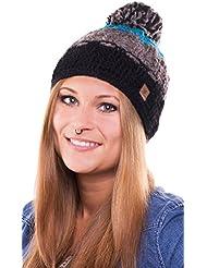 Caspar Hat - bonnet tendance tricoté avec pompon pour femmes ou également homme - fait main au Népal - 2013-14, bonnet tricoté avec polaire intérieure chapeau bobble (turquoise / noir)