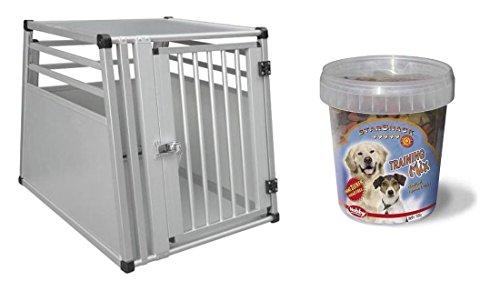 hundeinfo24.de Hundebox 55 x 75 x 62 cm Autobox mit Trainings-Leckerlie zum Üben Transportbox Transportkäfig Alubox Kofferraum-Box Aluminium