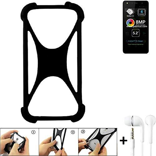K-S-Trade Handyhülle für Allview A9 Lite Schutzhülle Bumper Silikon Schutz Hülle Cover Case Silikoncase Silikonbumper TPU Softcase Smartphone, schwarz (1x), Headphones