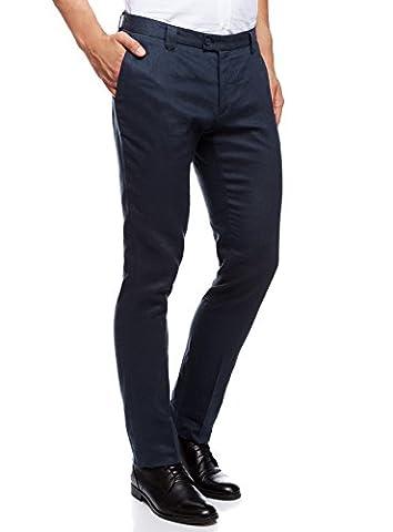 oodji Ultra Men's Slim-Fit Linen Summer Trousers, Blue, UK 34