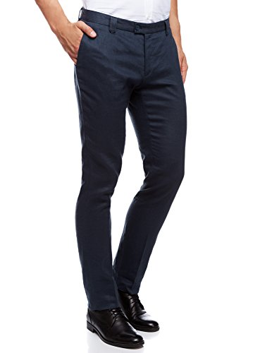 Oodji ultra uomo pantaloni estivi in lino slim fit, blu, it 48 / eu 44 (l)