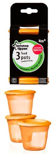 Tommee Tippee Food Storage Pots - Pack of 3 (Orange)