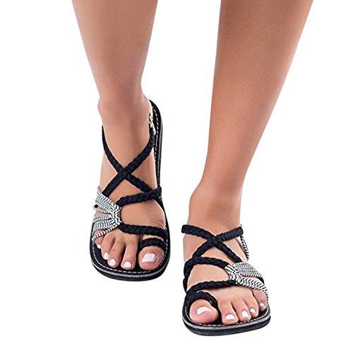 Sandalen Damen,Binggong Frauen Flip Flops Sandalen Sommer Schuhe Hausschuhe Mode Strand Schuhe Hausschuhe Kreuzgurte Geflochtenes Seil Römische Strandsandalen (42 EU, Weiß 2)