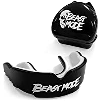 Beast Mode Gum Shield | Mouth Guard & Carry Case - For contact sports, rugby, boxing, hockey, kickboxing, martial arts, judo, karate, MMA, football - Mouldable boil and bite | Adult & Kids