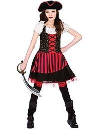 Girls Black & Red High Seas Caribbean Pretty Pirate Fancy Dress Costume