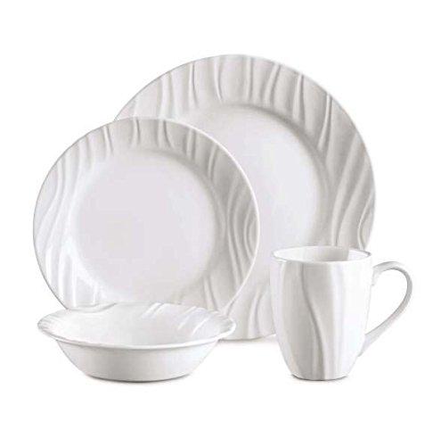 Corelle Geschirr-Set Swept geprägt aus Vitrelle-Glas für 4 Personen 16-teilig, Splitter- und bruchfest, weiß