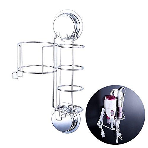 Ecoart Haartrocknerhalter und Glätteisenhalter/Lockenstab Wand-Regalsystem aus rostfreiem Stahl, Kabelhalter, Saugnäpfe Schrauben, 15 x 9 x 23.5cm