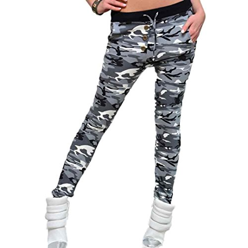 OverDose Damen Camouflage Tarnungs elastischer Bund Yoga Gym Gamaschen-Eignung-Sport-Hosen (XS, (Plus Größe Muster Nähen)
