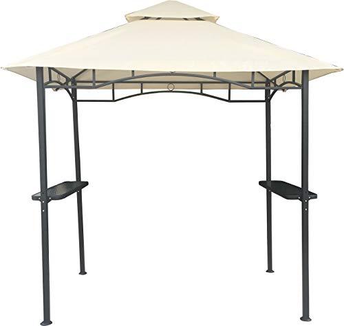 habeig Grillpavillon Wasserdicht 310g/m² PVC Dach Pavillon 250x150 cm mit Ablage Gartenlaube Gartenpavillon BBQ (Beige 27-B)