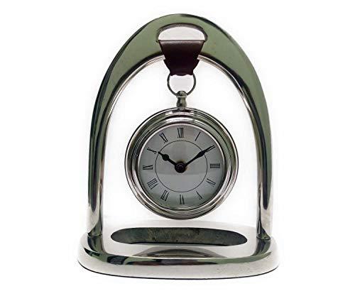 Indian Handicrafts Export Kartique Handmade Chrome Plated Antique Style | Hanging Table Clock | Steel Finish | Desk | Shelf | Metal Clock -