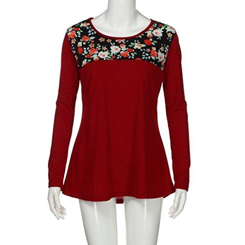 DAY8 chemise femme chic soiree manteau femme grande taille Printemps pull femme hiver fleurs blouse femme dentelle mode vetement femme pas cher été top haut femme sport t shirt fille Rouge