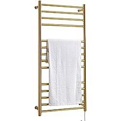 Towels and shelves Chauffe-Serviettes Chauffant, radiateur Mural Chauffant électrique en Acier Inoxydable pour Salle de Bains, Montage Mural - Or (17.71 X 23.62 X 4.33 inch)