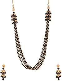 Ganapathy Gems Traditional Black Beads Black Gold Plated Multi-Strand Necklace Set For Women (10371_GPJ) 10371...