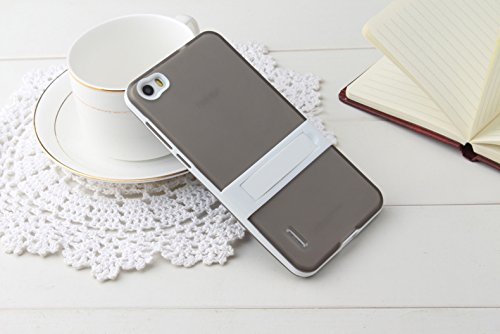 iPhone 6S Case, [Korean Style] [Clear Solid] [TV Holder Design] [Attractive Exterior] [TPU Gel] Soft Stand Back Case--Blue A-Gray