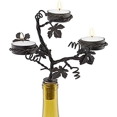 Nero ferro decorato Portacandele rustico a candelabro