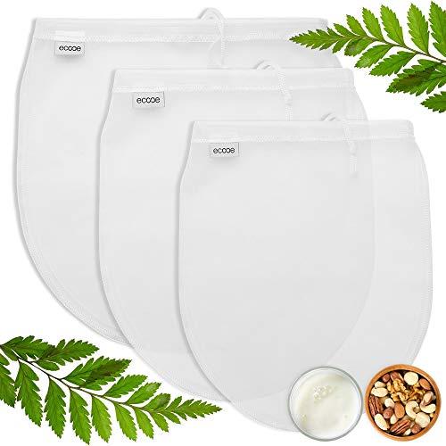 Ecooe 3 Stück Nussmilchbeutel für vegane Nussmilch Mandelmilch Haselnussmilch Feinmaschiges Passiertuch S M L Filtertuch für Obstsaft & Kaffee