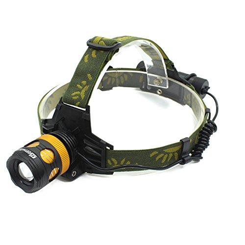 Genwiss XM-L T6 LED wasserdichte Zoom Fokus Frontleuchte LED zoomable Stirnlampe Kopflampe 3 Modus 3000 Lumen für Camping Biking Arbeits Jagen Fischen Reiten (Gold, inklusive Akku und Ladegerät)