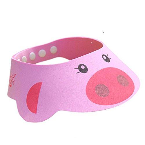 Rameng Animaux Mignons Doux Ajuster Imperméable Douche Shampooing Cap Bain Protection Bonnet Chapeau Pour BéBé Enfants (Rose)