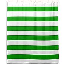 Verde/Blanco Rayas cortina de ducha DIY poliéster materiales/resistente al agua/anti bacterias/personalizada diseño