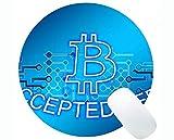 Tappetino per Mouse Rotondo Personalizzato, Tappetino per Mouse Rotondo con Banconote Bitcoin in Denaro