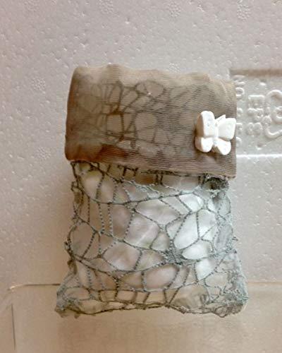 Stock 20 pezzi sacchetto busta rete portaconfetti ecru con gessetto farfalla bomboniera matrimonio comunione cresima