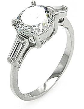 für die Braut Klare runder Mittelstein Baguette Fassung Sterling Silber Rhodium beschichtet Zirkonia Ring