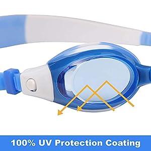 Occhialini Nuoto per Bambini 2 Pack con 2 paia di naselli regolabili - Junior Occhialini Nuoto protezione UV per ragazzi , ragazze