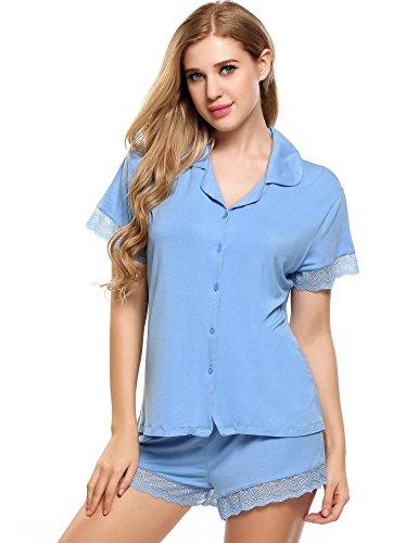 Ekouaer Damen kurz Schlafanzug Pyjama Zweiteiliger Set Nachthemd Sommer Sleepshirt Shorty - Gr. XS S M L XL Hellblau