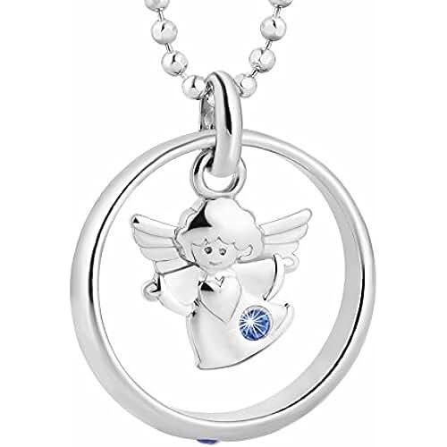 ideas regalos para comuniones kawaii Fish Cadena Plata 925Sterling para niño y niña, anillo para bautizo con elementos Swarovski azul ángel 38cm