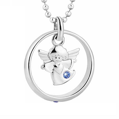 fish Mädchen Jungen Kette Silber Schutzengel-Anhänger Taufring Taufgeschenk Blau Geschenkbox Christliche Geschenke
