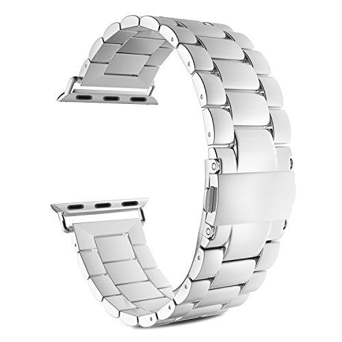 MoKo Apple Watch 42mm Cinturino, Braccialetto in Acciaio Inossidabile con Chiusura Pieghevole per Apple Watch 42mm di Series 1 2015 & Series 2 2016 - ARGENTO (Non Adatto a 38mm)