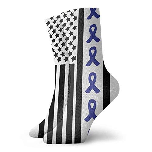 Jxrodekz Ribbon Flag Colon Cancer Awareness Sport Compression Short Sock Best for Men & Women Soccer Jogging 12