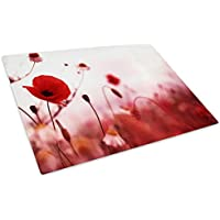 Red White Poppy Flower Cool Glass Chopping Board Kitchen Worktop Saver Protector