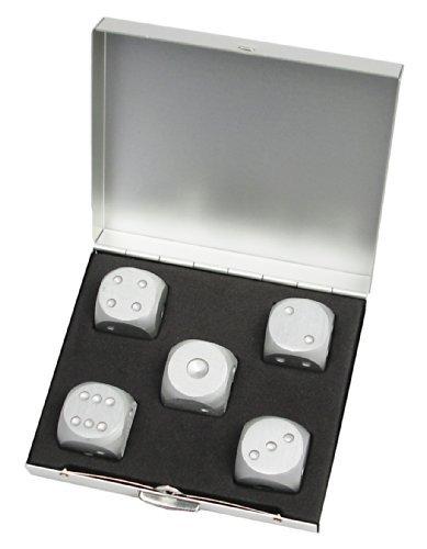 R-STYLE Brettspiele fur Erwachsene und kuhle Metall Wurfel gesetzt in der Innen (5 Stuck quadratische Gehause)