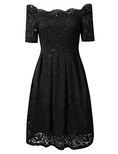 YesFashion Damen Kleid Spitzenkleid Abendkleid Partykleid Knielang A-Linie kurzarm Schwarz 34/S