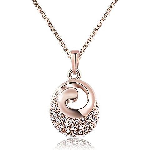 City Ouna® bijoux de cristal 18K Rose rouge diamant créative plaqué or goutte bijoux collier pour femme cadeau avec chaîne 18