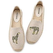 YOPAIYA Lino Lienzo de cáñamo para niña Moda Calzado cómodo Gato Encantador Womens Casual Alpargatas Zapatos