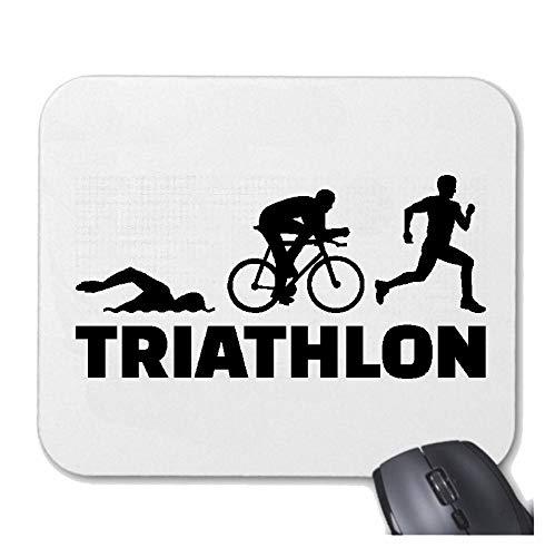 Helene Mousepad (Mauspad) Triathlon - Marathon - Schwimmen - Laufen - Radfahren für ihren Laptop, Notebook oder Internet PC (mit Windows Linux usw.) in Weiß