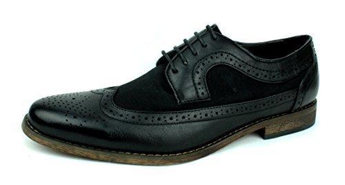 Neuf Pour Hommes Chaussures Brogues Travail De Bureau Intelligent Habillé Embout Cuir UK taille Noir/Fabrick
